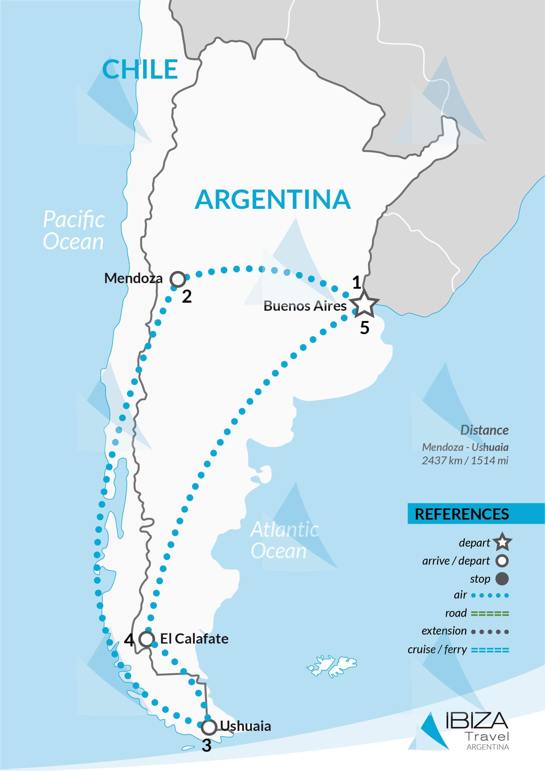 scenic tour of argentina map